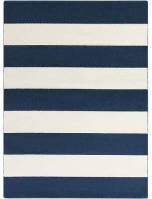 Latitude Run Greer Cobalt & Ivory Striped Area Rug