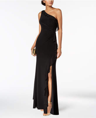 Vince Camuto One-Shoulder Ruffled Gown