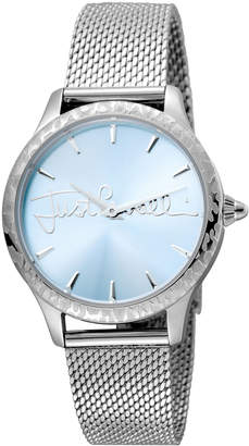 Just Cavalli 34mm Logo Stainless Steel Bracelet Watch w/ Leopard Bezel, Blue