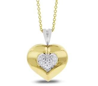 14K Yellow Gold 0.11ct. Diamond Small Heart Pendant Necklace