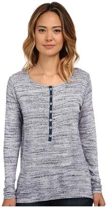 Miraclebody Jeans Variegated Long Sleeve Henley Top w/ Body-Shaping Inner Shell Women's Long Sleeve Pullover