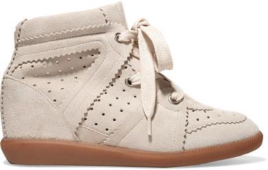 Isabel Marant - Bobby Suede Wedge Sneakers - Beige
