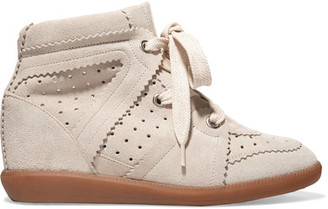 Isabel Marant - Bobby Suede Wedge Sneakers - Beige $600 thestylecure.com