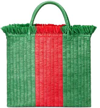 Gucci Web straw large top handle tote