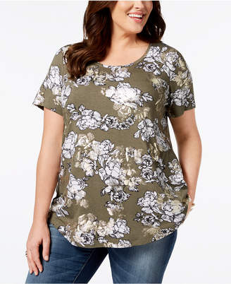 JM Collection Plus Size Metallic Floral-Print Top, Created for Macy's