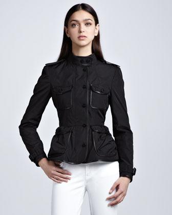 Burberry Leather-Trim Taffeta Shirt Jacket