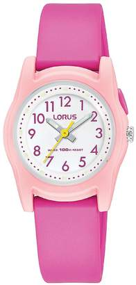 Lorus White and Pink Detail 100m Water Resistant Dial Pink Silicone Strap Kids Watch