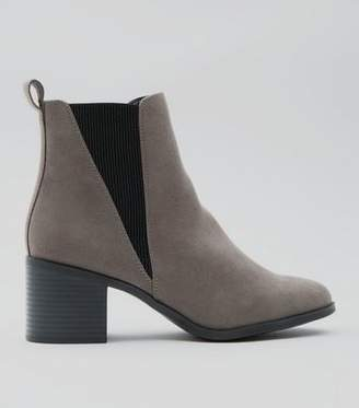 New Look Grey Suedette Elasticated Side Ankle Boots