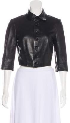 Ralph Lauren Purple Label Leather Button-Up Jacket