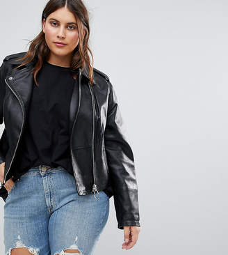 Asos Leather Jacket with Ring Pull Details