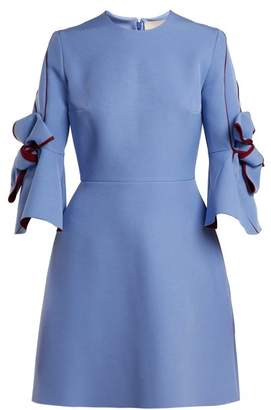 Roksanda Harlin Bow Sleeve Bonded Crepe Mini Dress - Womens - Blue Multi
