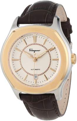 """Salvatore Ferragamo Men's FQ1030013 """"Lungarno"""" Stainless Steel and Gold Ion-Plated Automatic Watch with Leather Band"""