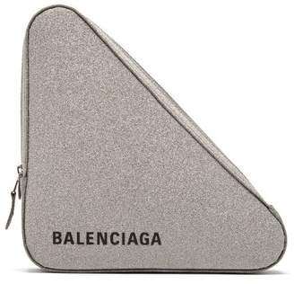 641db8fe3ec7 Balenciaga Triangle Pochette M Glittered Leather Clutch - Womens - Silver