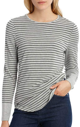 Tee With Crewneck Rounded Hem Detail Fitted PW18003