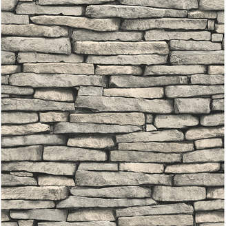 Brewster Home Fashions Essentials Ledge Slate 33' x 20.5 Stone Wallpaper Roll