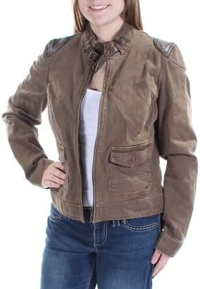 Ralph Lauren Ralph Womens Denim Leather Trim Moto Coat