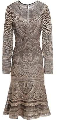 Naeem Khan Fluted Metallic Embroidered Silk-Tulle Dress