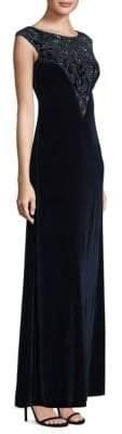 Aidan Mattox Velvet Floor-Length Shift Gown