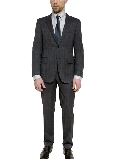 Canali Two Button Open Weave Slim Fit Wool Suit
