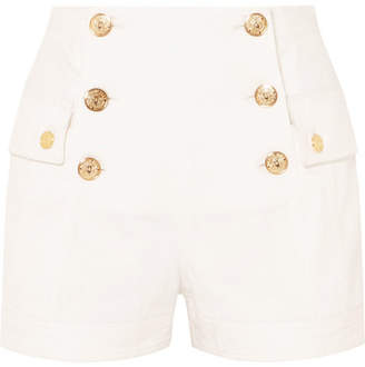 Balmain Button-embellished Denim Shorts - White