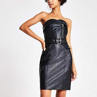 River Island Black faux leather belted bandeau dress