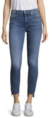 7 For All Mankind High-Waist Stepped Hem Skinny Jeans