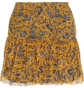 Étoile Isabel Marant - Brinley Smocked Printed Silk-georgette Mini Skirt - Yellow $345 thestylecure.com