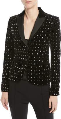 Valentino Two-Button Embellished Velvet Tuxedo Jacket