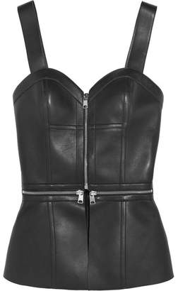Alexander McQueen Zip-embellished Leather Bustier Top - Black