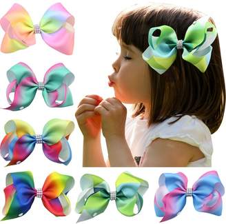 "styling/ Nancyus005 4pcs 7"" Rainbow Bow Rhinestone Boutique Hair Bow with Alligator Clips"