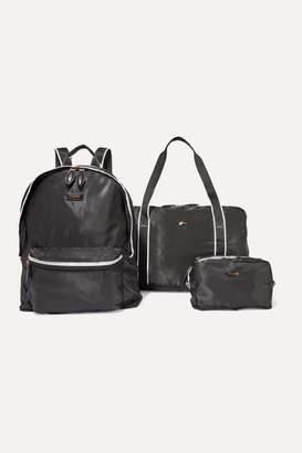 Paravel Fold-up Canvas-trimmed Shell Bag Set - Black