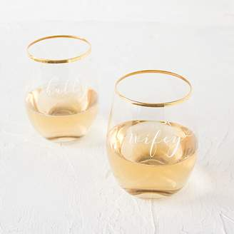 Cathy's Concepts Cathys Concepts 2-pc. Hubby & Wifey Gold Rim Stemless Wine Glass Set