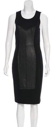 Tracy Reese Leather-Paneled Sleeveless Dress