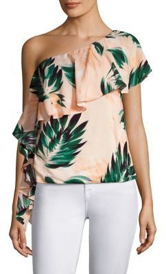 Scripted Ruffled One-Shoulder Blouse $215 thestylecure.com