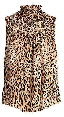 6b1075d0646e0 Frame Women s Smocked Sleeveless Cheetah Print Chiffon Blouse