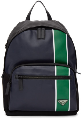 Prada Navy and Green Leather Backpack