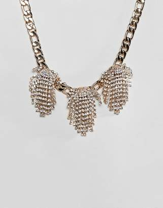 Asos DESIGN statement necklace with crystal clusters and chunky chain in gold