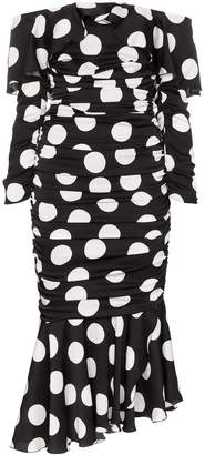 Dolce & Gabbana off-the-shoulder polka dot silk blend dress