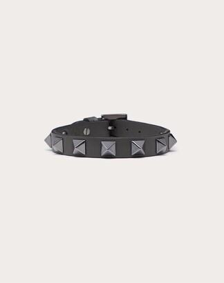 Valentino Garavani Uomo Rockstud Leather Bracelet With Ruthenium Studs Man Black Calfskin 100% OneSize