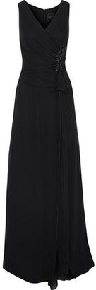 Carolina Herrera Wrap-Effect Embellished Silk-Chiffon Gown