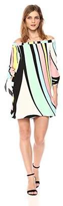 Nicole Miller New York Women's Off-Shoulder Long Dress with tie Sleeves