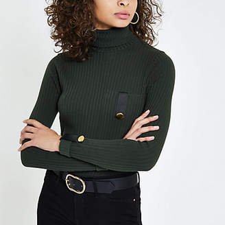 River Island Womens Dark green pocket trim turtle neck top