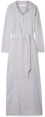 Pour Les Femmes - Belted Linen Maxi Dress - Light gray