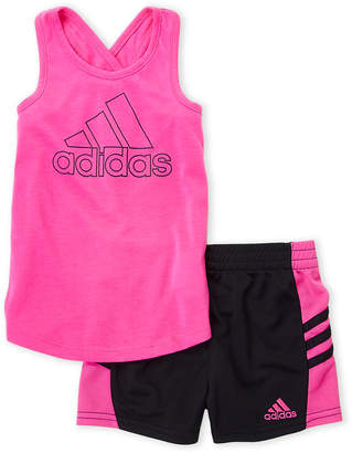adidas Girls 4-6x) Two-Piece Logo Racer Tank & Perforated Shorts Set