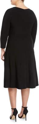 Taylor Half-Sleeve Side-Tie Midi Dress, Plus Size