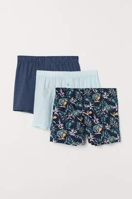 H&M 3-pack Woven Boxer Shorts - Green