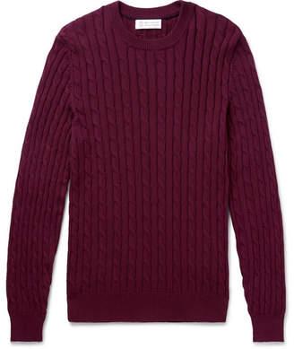 Brunello Cucinelli Cable-Knit Cotton Sweater - Men - Burgundy