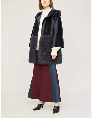 Drome Reversible shearling and leather hooded coat
