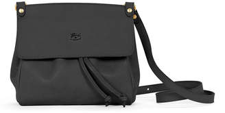 Il Bisonte Large Leather Flap Crossbody Bag, Black