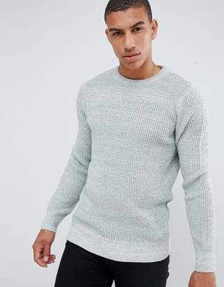 New Look textured knit jumper in grey